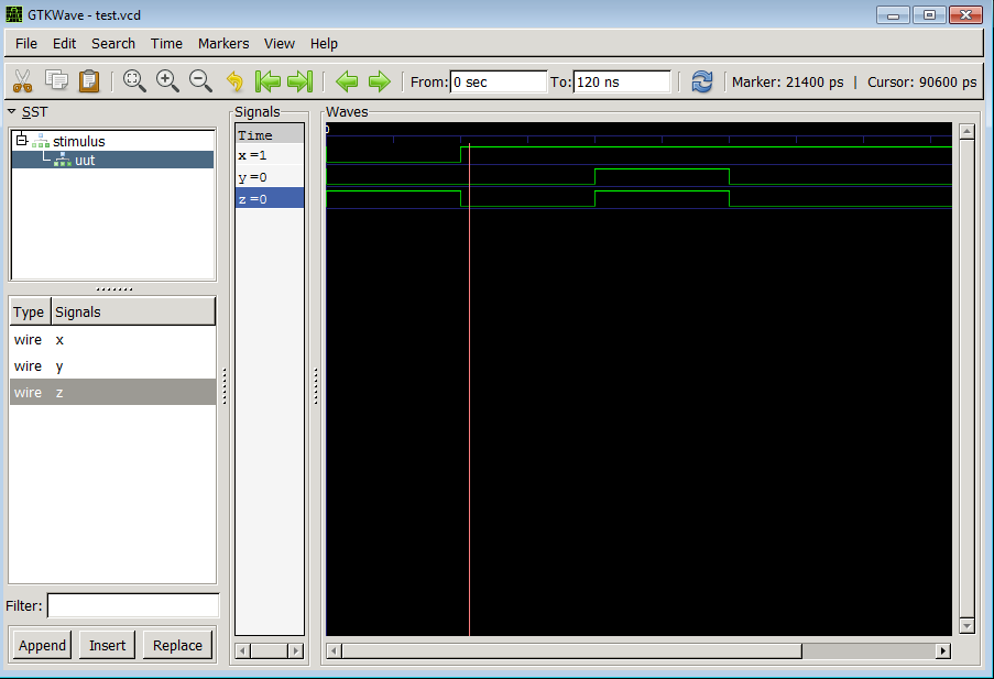 Verilog Icarus waveform Viewing using GKTwave